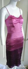 Betsey Johnson Silk Dress Orchid Pink Ombre Fitted Ruffle Bra Hem Mini 2