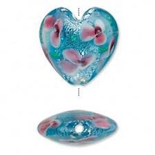 4355 Lampwork Glass Heart Bead Blue Floral Silver Foil 26mm PK1 *UK EBAY SHOP*
