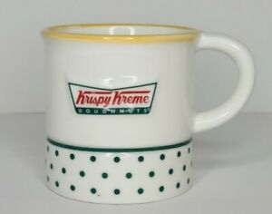 Krispy Kreme Doughnuts Coffee Mug Cup Green Polka Dots Donut Inside Bottom