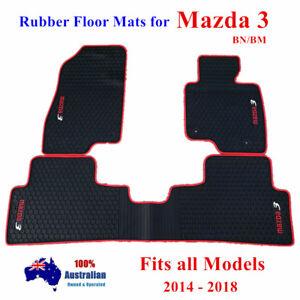 Waterproof Rubber Floor Mats Tailor Made for Mazda 3 Hatch Sedan 2014 - 2019 Red
