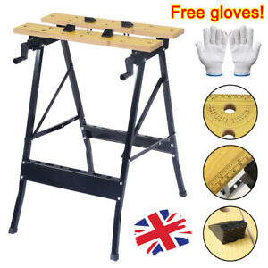 Portable Wooden Foldable Workbench Work Clamping Tool Folding Worktop Table NEW