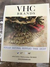 "Burlap Natural Mini Ruffled 21"" Christmas Tree Skirt VHC Brands NEW"