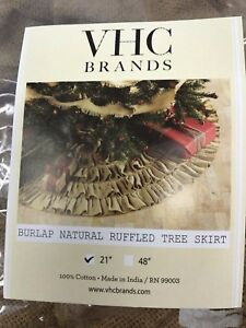 "Burlap Natural Mini Ruffled 21"" Diameter Christmas Tree Skirt VHC Brands NEW"