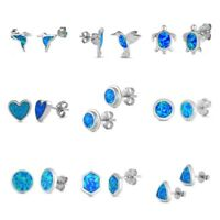 NEW .925 Sterling Silver BLUE OPAL, BIRD, TURTLE, HEART, ROUND STUD EARRINGS