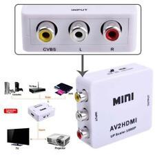 Composite AV CVBS RCA to HDMI Video Converter Adapter 720/1080p Upscale White TR