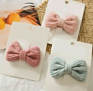 1 x Candy Colour Bow Hairpin Soft Cotton Cute Girl Knotted BB Clip Hair Clip