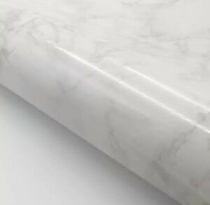 Marble Contact Paper Self Adhesive - Gray / White Glossy Marble Paper