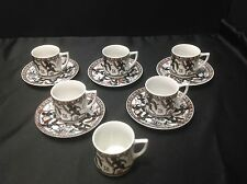 Louvre Museum Gladiator Demitasse 6 Cups & 5 Saucers, HM in Greece, Signed