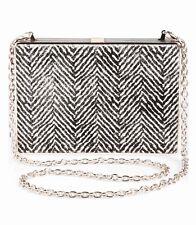 Ivanka Trump Genuine Calf Hair Box Minaudiere Clutch Handbag~Chalk/Black~NWT