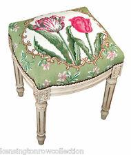 Stools - Tulip Garden Needlepoint Stool - Vanity Seat - Upholstered Stool