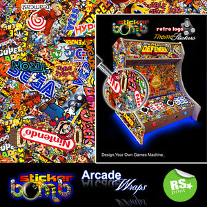 StickerBomb Arcade Machine Wrap Artwork Sticker Retro Game Theme large Sizes