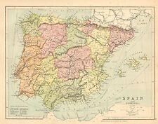 1902 MAP ~ ESPAÑA Y PORTUGAL ~ CORDOVA LERIDA HUESCA TERUEL MURCIA