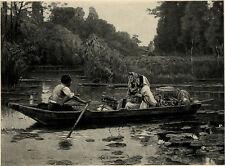 Retour du marché Barque - Héliogravure d'après Adrien Moreau 1888