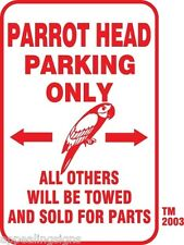 """Buffett Parrothead Parking Only Sign 12"""" x 18"""" Aluminum Bar Beer Beach Pool #1"""