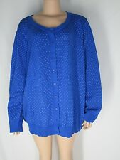 NWOT Woman Within Bright Blue Cotton Shirt Top Jacket 3X White Polka Dots