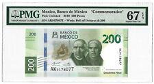 MEXICO 200 Pesos 2019 P-NEW, PMG 67 EPQ, Superb Gem UNC, Pretty Type
