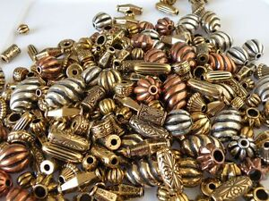 30 Mixed Metalized Acrylic Vintage Beads NOS Old World Style FLAT SHIP