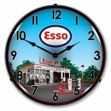 NEW ESSO GAS STATION  BACKLIT LIGHTED RETRO ADVERTISING CLOCK - FREE SHIPPING*