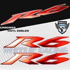 "6"" 3D EMBLEM FENDER/FAIRING/GAS FUEL TANK LOGO STICKER FOR YZF-R6/R6S CHROME RED"