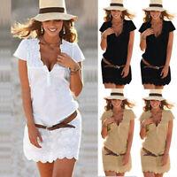 Women's Summer Sexy V-Neck Lace Short Sleeve Boho Beach Sundress Mini Dress