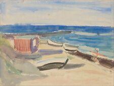 MATEO CRISTIANI (* 1890 FRANKFURT; ✝ 1962 MÜNCHEN) »BOOTE AM STRAND« 38 x 45 cm
