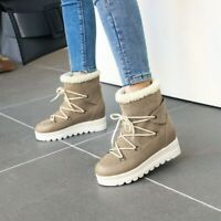 Womens Fashion Winter Round Toe Lace Up Thick Heels Warm Fur Lining Snow Boots
