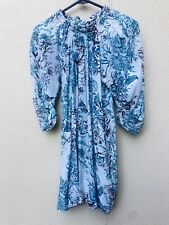 Lover the Label Peony Floral  Silk Mini Dress Size 8 Blue Cocktail Wedding EC
