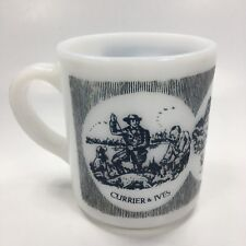 Vintage Currier And Ives Milk Glass Mug A Good Day Sport Hunting Cup Tea Coffee
