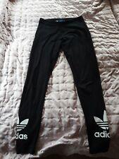 **Womens Adidas Originals Black Trefoil Leggings Size 12 Sports Gym Yoga