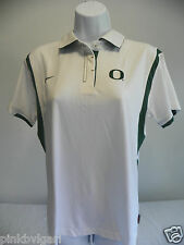 Nike Oregon Ducks Womens Classic Polo Shirt Medium White Green Short Sleeves