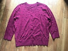 New listing beautiful burgundy, cardigan with black doots, sweater,M