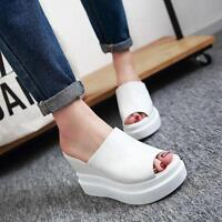 Women's Platform Creeper Open Toe Wedge High Heel Sandals Slipper Fashion Shoes