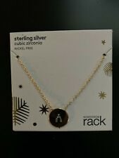 Sterling Silver Cubic Zirconia Necklace Clear Gold -