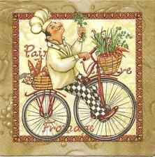 4 Single Paper Napkins for Decoupage Cook Bicycle Bike