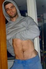 Shirtless Male Muscular Beefcake Abs Stomach Show Off Hoodie PHOTO 4X6 F751