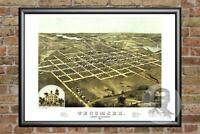 Old Map of Tecumseh, MI from 1868 - Vintage Michigan Art, Historic Decor