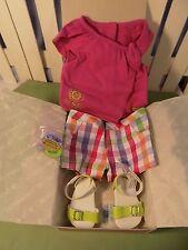 American Girl Sunshine Garden short set outfit w/shoes hairtie NIB Gr8 Gift