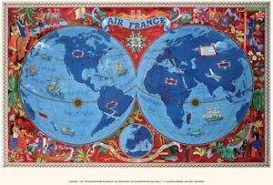 Réédition Affiche AIR FRANCE Planisphère Rouge L. Boucher Abimée sur le bord