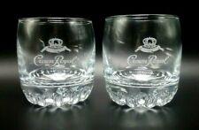 2 CROWN ROYAL Cursive White Satin Etch Sunburst Base Rocks Glasses