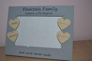 Personalised handmade photo frame FAMILY where life begins- grandparent mum dad