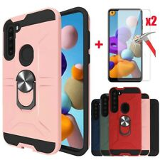 For Samsung Galaxy A21 Case Magnetic Ring Stand Cover + Tempered Glass Protector