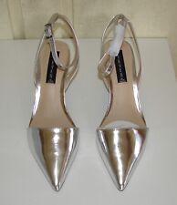 NIB Steven Steve Madden size 8 silver metallic Caydence slingback mid-heel shoes