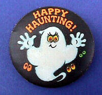 Hallmark BUTTON PIN Halloween Vintage GHOST Happy Haunting Holiday Pinback