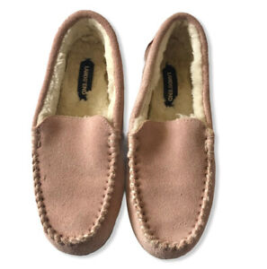 Lands End Women's Pink Suede Moccasin Slippers Size 6 Faux Fur Lined