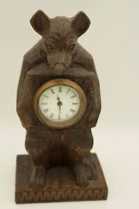Black Forest Hand Carved Wooden Bear Clock. Reproduction.