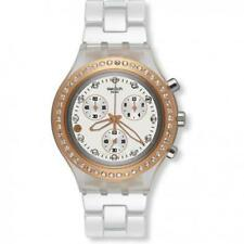 Swatch Full Blooded Marvelous Pink Rose Gold White Watch 43mm SVCK4067AG $160