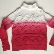 Tommy Hilfiger Pink White Hand Dyed Chunky Knit Sweater 14 Girls