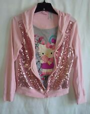 HELLO KITTY Girls' Sequin Pink Mock-Tank Full Zip Hoodie - Size XL (14/16 )