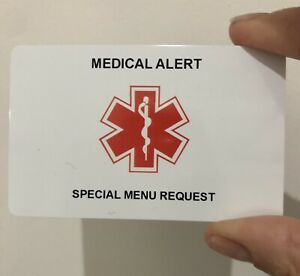 Bariatric Patient Special Menu Restaurant Request Card for Gastric Bypass