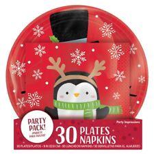 Snowy Friends Snowman Penguin 60 Ct Value Pack 30 Plates, 30 Napkins